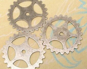 Steampunk Gear Charm, 1 Inch, Antiqued Silver, 3 Pc. AS176