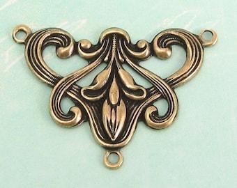 Art Nouveau Connector Antique Gold Trinity Brass AG49