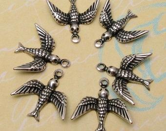 Small Bird Charm, Antique Silver, Trinity Brass, 6 Pc. AS103