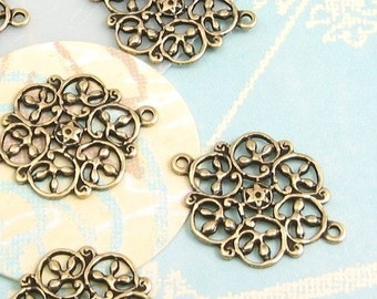 Small Filigree Connector, Antique Gold, 4 Pc. AG11