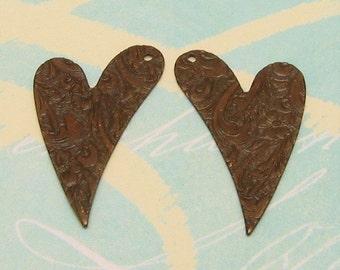 Embossed Heart Drop, Vintage Patina, Trinity Brass, 1 Pair  VP35