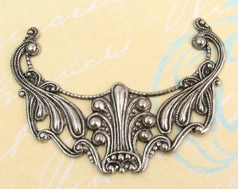 Large Art Nouveau Pendant, Antique Silver, Trinity Brass AS16