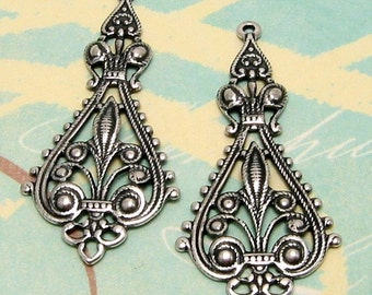 Filigree Drop, Antique Silver, 2 Pc. AS130