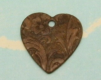 Embossed Heart Charms, Vintage Patina, Trinity Brass, 4 Pc. VP53