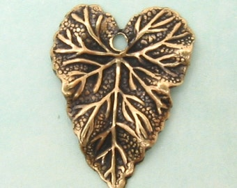 Brass Leaf Charm, Antiqued Gold, Trinity Brass, 6 Pc.  AG97