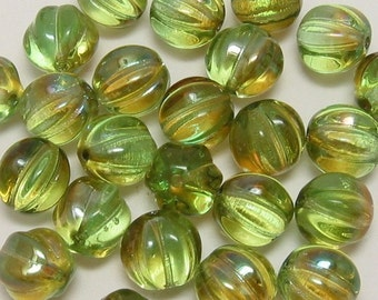 Czech Beads Glass Melon Round, 8 MM, Green Chrysolite Celsian, 25 Pc. C88