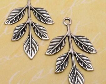 Leaf Sprig Pendant, Antique Silver, 2 Pc. AS119-2
