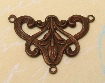 Art Nouveau Y Connector Vintage Patina Trinity Brass VP31