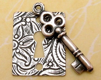 Lock and Key Charm Set, Antique Silver, Trinity Brass, AS33
