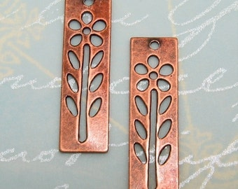 Antique Copper Daisy Tag Charm, 2 Pc. AC25