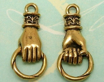 Hand Holding Ring Connector, Antique Gold,  2 Pc. AG136