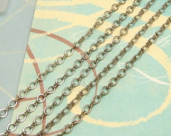 Oval Links And Bows Chain 4mm Antique Silver Soldered 6' AS165