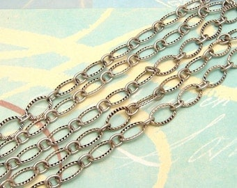 Antique Silver Chain, Textured Oval, Soldered,  3' AS163