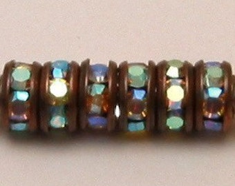Rhinestone Rondelle Spacer Copper Crystal AB 4 mm 6 Pc. C124