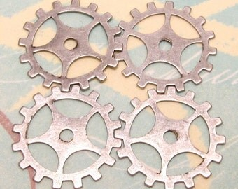 Steampunk Gear Charm, Antiqued Silver, 19mm, 4 Pc.  AS204