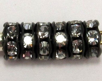 Rhinestone Rondelle Spacer, Crystal Jet, 6mm, 12 Pc. C188