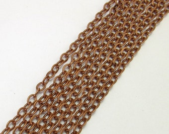 Antique Copper Flattened Cable Chain Soldered 3mm  6 Ft.  AC94