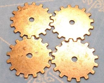 Steampunk Gear Charm Antiqued Gold 19 MM Trinity Brass 4 Pc. AG190