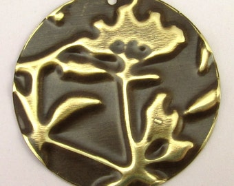 Embossed Brass Pendant, Round Flower E2