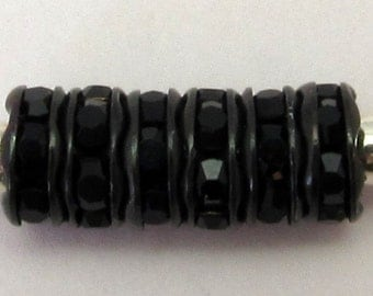 Rhinestone Rondelle Spacer Jet, Jet Black 6mm 12 Pc. C205