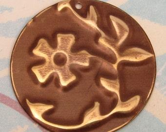 Embossed Brass Flower & Vine Pendant E21