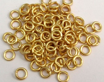 4mm Jumprings, Round, 18 Gauge, Satin Hamilton Gold, 100 Pc. AG197