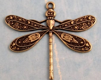 Ornate Dragonfly Charm Antique Brass 2 Pc. AB37