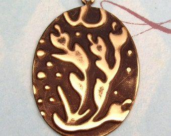 Embossed Brass Under The Sea Oval Pendant E36