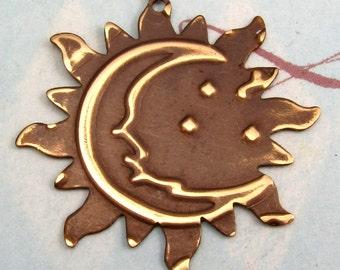 Sun Moon Stars Pendant Embossed Brass E43
