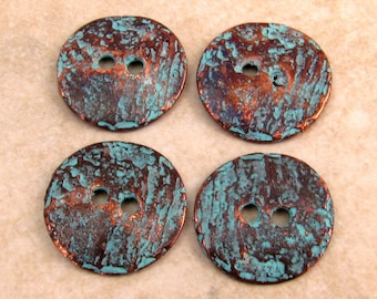 Mykonos Casting Cornflake Button, Green Patina 16mm 4 Pieces M34