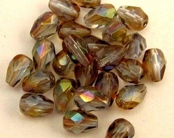 Czech Glass Beads, Firepolished Teardrops, 5X7 mm Light Sapphire Blue Celsian 25 Pc. C226