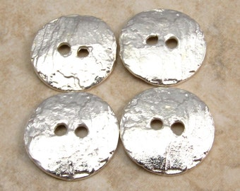 Mykonos Casting Cornflake Button, Silver 16mm 4 Pieces M54