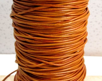 Greek Leather Cord, Tobacco Brown, 2 MM, 12-feet  M88