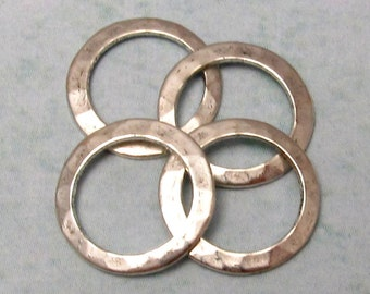 Small Hammered Ring Connector Antique Silver, 13 MM 4-Pc. AS245