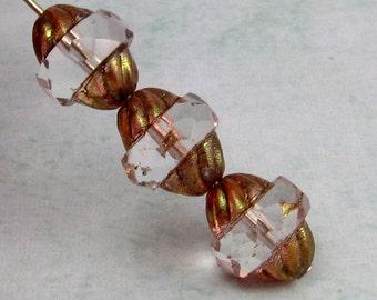 Czech Glass Beads Turbine, Crystal Picasso, 11x10 MM 6-Pieces C233
