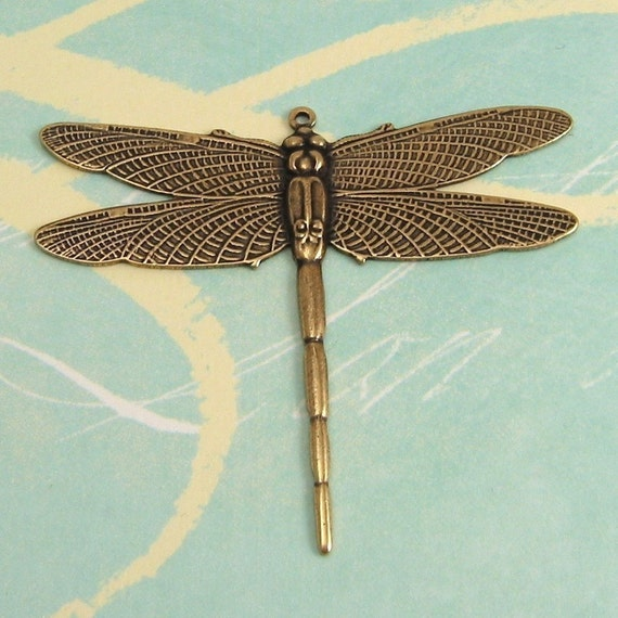 Brass Dragonfly Pendant  Antique Gold Trinity Brass AG32