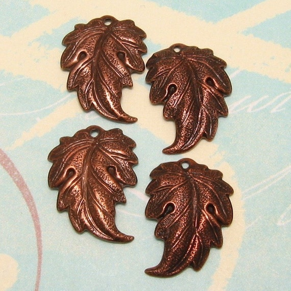 Leaf Charms Antiqued Copper Brass AC55
