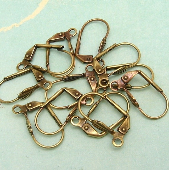 Shell Lever Back Ear Wires Antique Gold Trinity Brass 6 Pair AG162