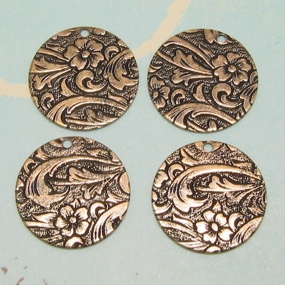 Floral Disk Charm, Antique Gold, Trinity Brass, 4 Pc. AG122