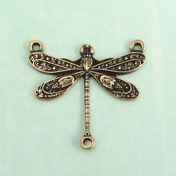 Dragonfly 3 Ring Connector Antique Gold Trinity Brass 4 Pc.  AG56