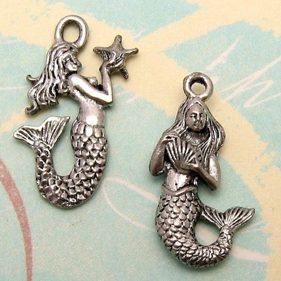 Mermaid Charm Antique Pewter 1 Pair AP27