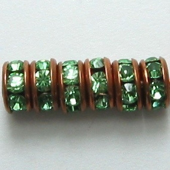 Copper Peridot Green Rhinestone Rondelle Spacer, 5mm 6-Pc. C18