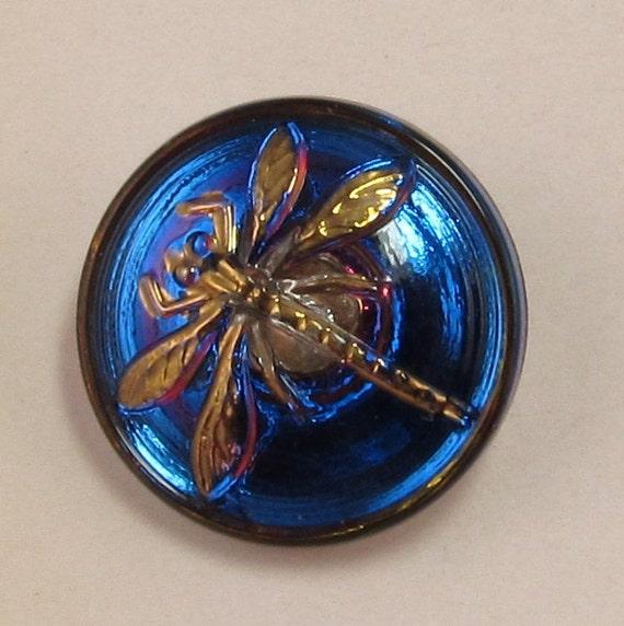 Dragonfly Button Czech Glass Blue Fuchsia Gold 18mm With Pendant Converter C178