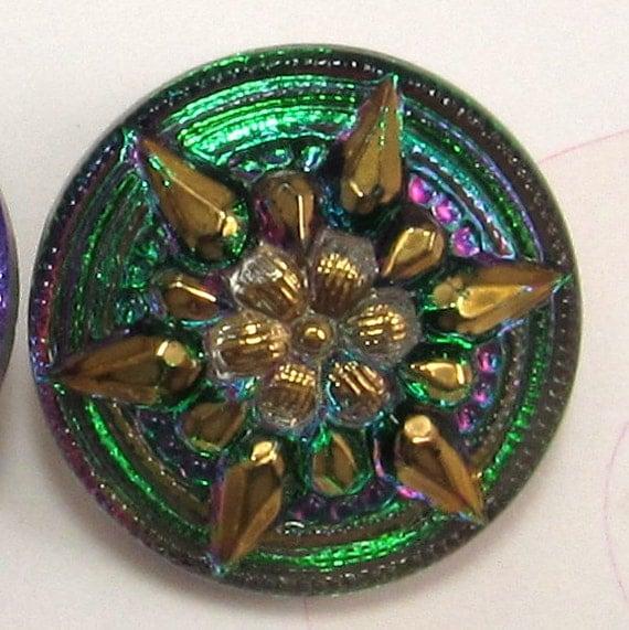 Czech Glass Button Star Flower Green Pink 18mm With Pendant Converter C201