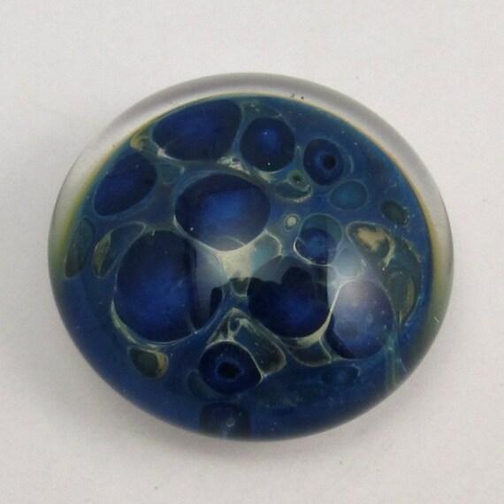 Lampwork Glass Cabochon Blue, Teal, Cream B201