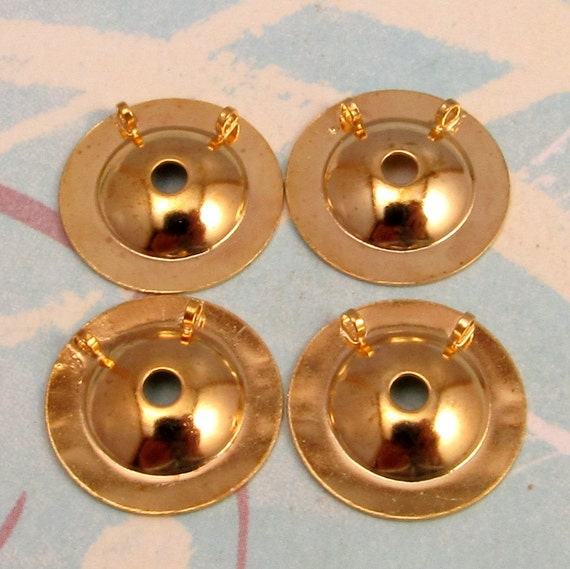 Button To Pendant Converter Small,15 MM, Gold 4 Pc. AG200