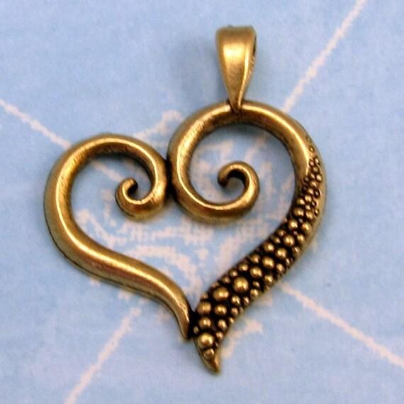 Heart Pendant Antiqued Gold 25% Off AG203
