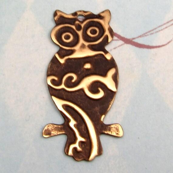 Owl Pendant Embossed Brass E34