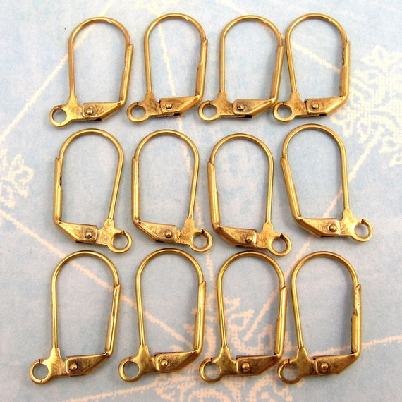 Lever Back Ear Wires, Antique Gold, Trinity Brass, 12 Pc.  AG207