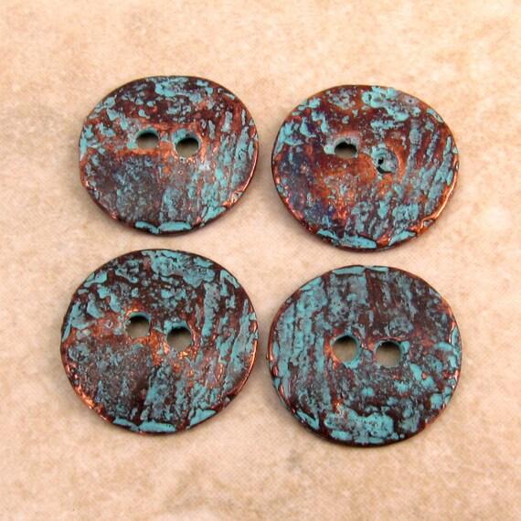 Mykonos Casting Cornflake Button, Green Patina 16mm 4 Pieces M34